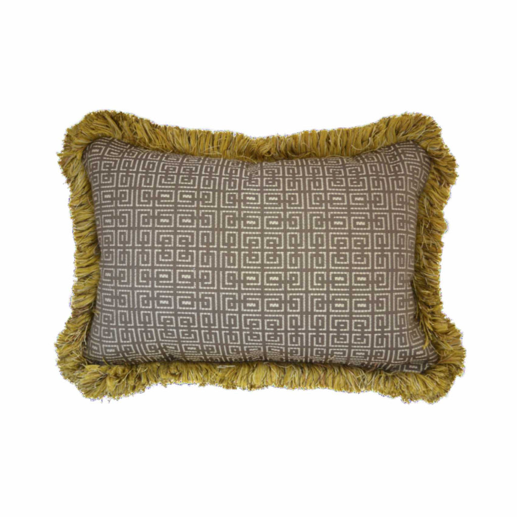 "Geometric Pillow with Goldenrod Fringe (24"" x 16"")"