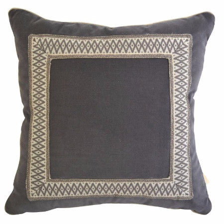 "Gray Velvet Pillow with Geometric Accent Tape (18"" x 18"")"