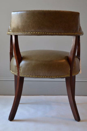 Wonderful Vintage Hickory Chair Company Leather Library Chair