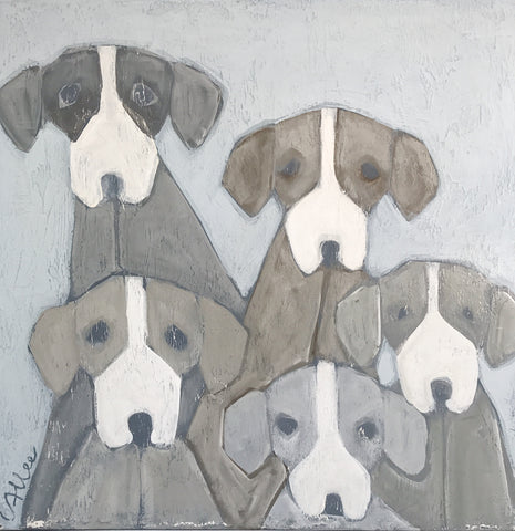"Cecel Allee 30""x30"" Multiple Pups Painting on Wood Panel"