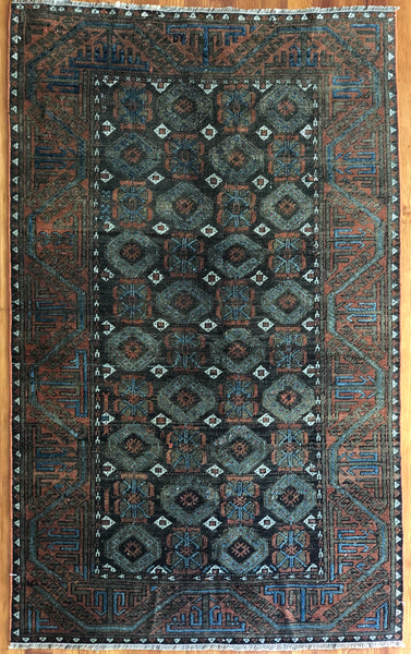 "Rug B16480 Vintage Turkish Rug (3' 2""x 5' 2"")"