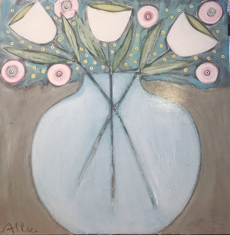 "Cecel Allee 48""x 48"" Floral Painting on Wood Panel"
