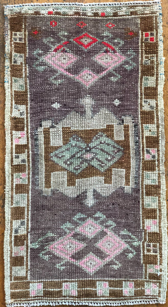 "Rug 13759 Vintage Turkish Rug (19"" x 36"")"