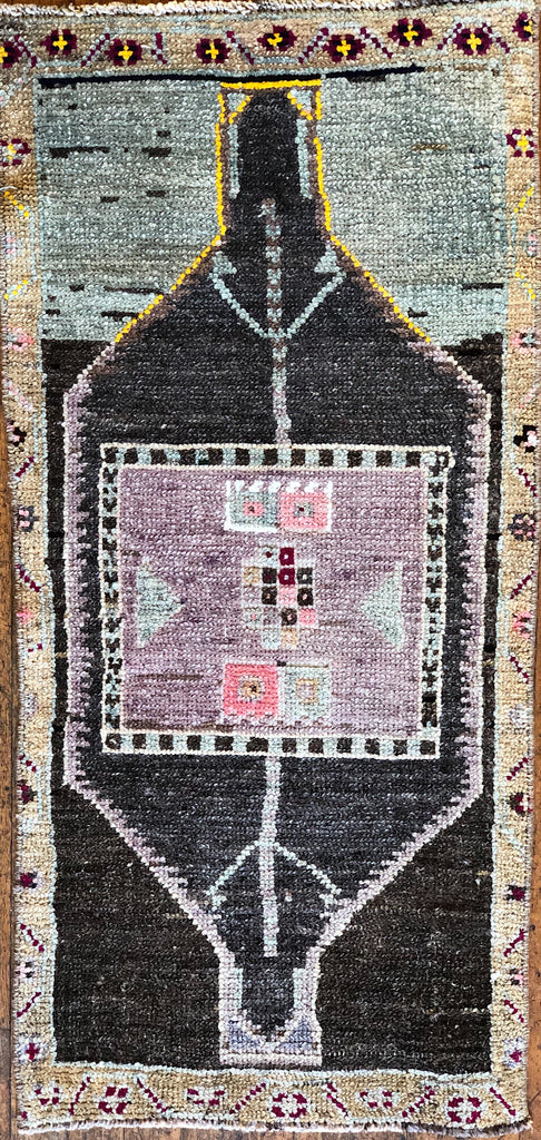 "Rug B14427 Vintage Turkish Rug (18"" x 38"")"