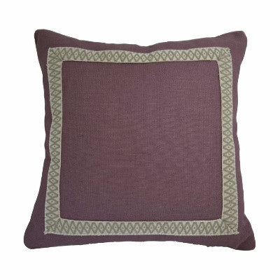 "Plum Linen Pillow with Gray Geometric Accent Tape (22"" x 22"")"