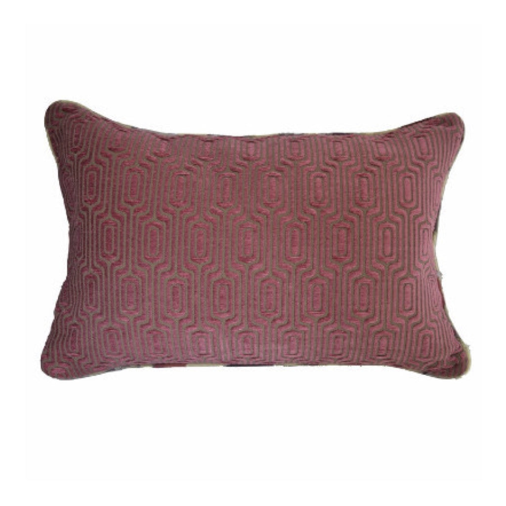 "Geometric Velvet Pillow with Contrasting Fabric Welt (24"" x 16"")"