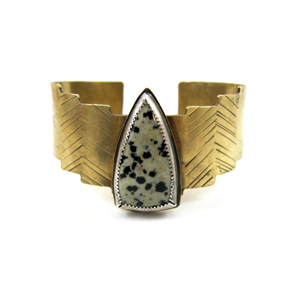 Laurel Hill Jewelry: Shield Cuff with Dalmatian Jasper