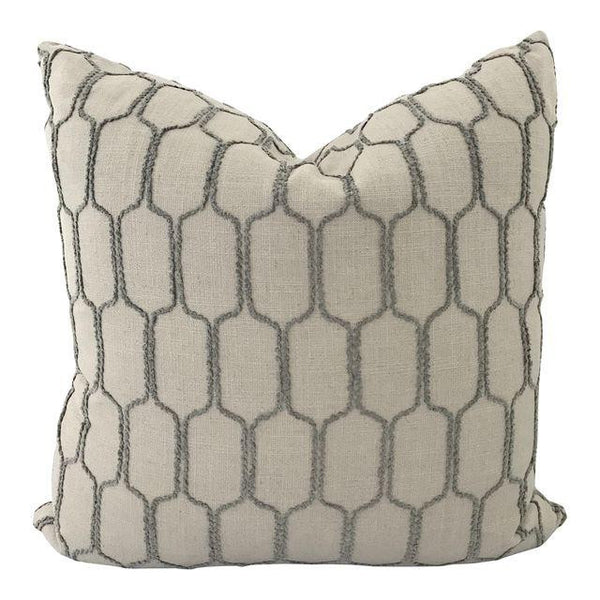 "Stone Grey Raised Octagon Pattern Pillow (20"" x 20"")"