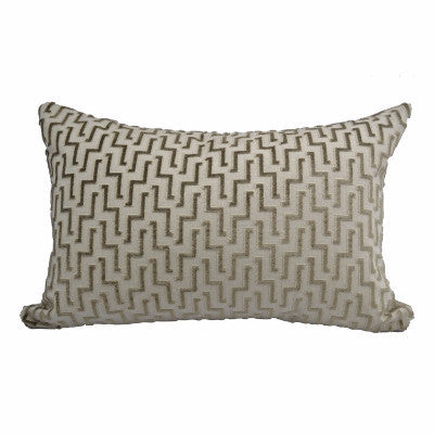 "Tone-on-Tone Geometric Velvet Pillow (24"" x 16"")"