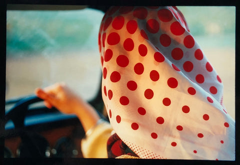 Richard Heeps photograph 'Anita', the back of a woman's head wearing a Marks and Spencer polka dot head scarf.
