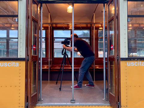Richard Heeps photographing a tram in Milan with his Mamiya RB67.