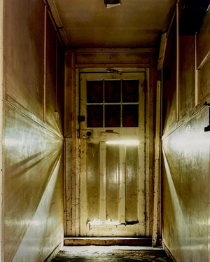 Cinematic photography of a doorway in Bletchley Park.