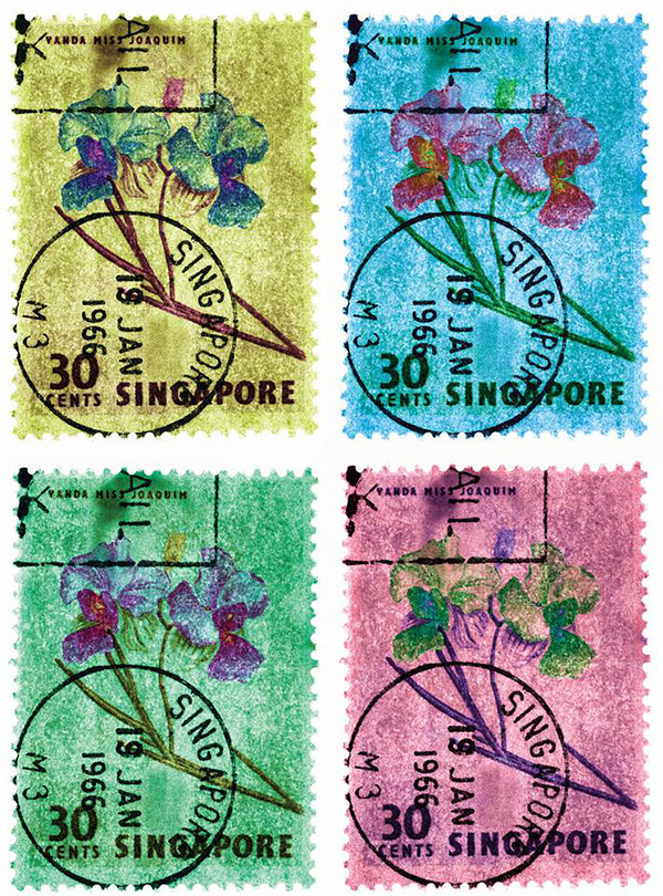 "30 Cents Singapore Orchid (Multi-Colour Mosaic) I, 2018, part of the Heidler & Heeps Stamp Collection, Singapore Series ""Postcards from Afar"". The fine detailed tapestry of the original small postage stamp has been brought to life, made unique by the franking stamp and Heidler & Heeps specialist darkroom process."
