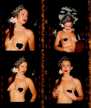 Burlesque performer contact sheet with a Jimi Hendrix backdrop.