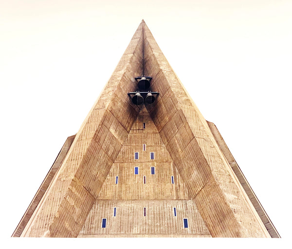 'Bell Tower, Chiesa San Giovanni Bono, Milan', part of Richard Heeps' series 'A Short History of Milan' which began in November 2018 for a special project featured at the Affordable Art Fair Milan 2019. There is a reoccurring linear, structural theme throughout the series, capturing the Milanese use of materials in design such as glass, metal, wood and stone.