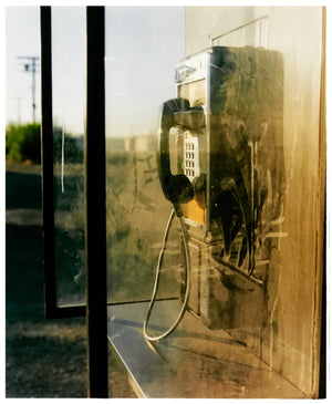 Cinematic photography of a dusty call box in the Desert in the Salton Sea California