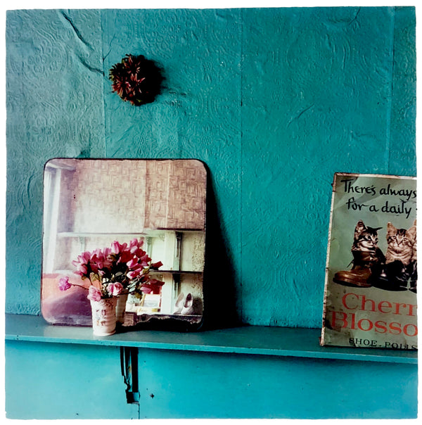 Turquoise wallpaper with a shelf with a mirror and book with cats on it.