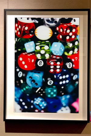 'Dice', Part of Richard Heeps 'Man's Ruin' Series, the vivid detail of the dice in fun multi-colour picture and lucky number 8 ball.