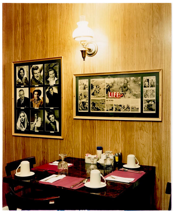 Photographed inside the iconic Parry Lodge that once hosted movie stars of the Western films made in the area, now the walls adorn their faces in cutouts from Life Magazine. The vintage interior and wood panelled walls create a mid-century cinematic scene. Part of Richard Heeps' Dream in Colour series.