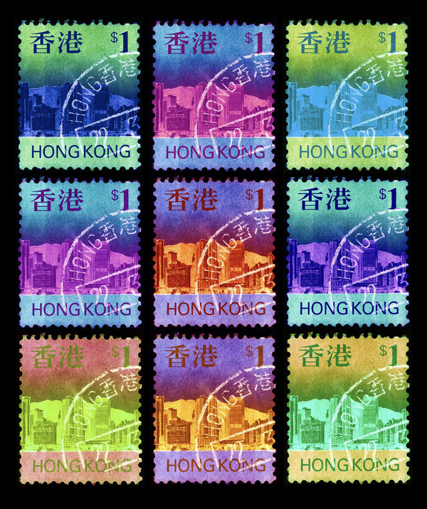 Eat, Sleep, HK$1, Repeat, 2017. This brand new release in the Heidler & Heeps Stamp Collection is a development of the single stamp 'HK$1'. The multiple effect replicates the effect of the pulsating city of Hong Kong.
