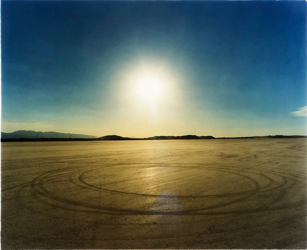 Photographed at El Mirage Lake, where the Southern Californian Timing Association, Land Speed Racing event, tracks in the ground from the previous days racing, adding a beauty to the natural landscape.