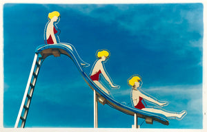 Artwork of three blonde girls in red swimsuits going down a slide against a blue sky with fluffy clouds.