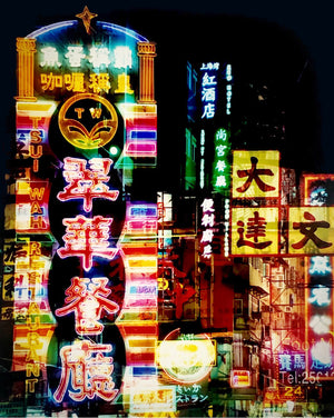 Buzzing neon lights fill the narrow streets of the Mong Kok area in Kowloon, Hong Kong