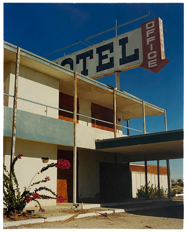 North Shore Motel Office II from Richard Heeps Salton Sea series. Blue skies over this Californian classic mid-century modern Americana Motel exterior. Captured by Richard Heeps in the Salton Sea in 2003 but only executed in his darkroom for the first time in Spring 2020.