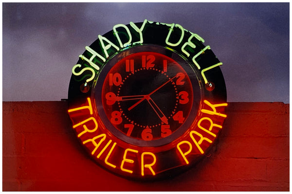 A neon sign belonging to Shady Dell Trailer Park in Bisbee, Arizona, which provides trailer and camping spaces to weary travellers along the famous Highway 80, which stretches from Savannah, Georgia to San Diego, California. This piece is part of Richard Heeps' 'Dream in Colour' series.