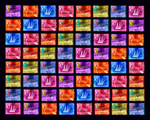 Singapore Stamp Collection 'Singapore Ship Sequence' (8x8). These historic postage stamps that make up the Heidler & Heeps Stamp Collection, Singapore Series 'Postcards from Afar' have been given a twenty-first century pop art lease of life. The fine detailed tapestry of the original small postage stamp has been brought to life, made unique by the franking stamp and Heidler & Heeps specialist darkroom process.