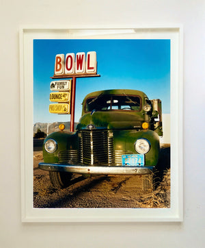 The classic American Truck in combination with the classic American Lifestyle with the cool Bowl Sign. The colours and subject create perfect Americana Pop Art Photography.
