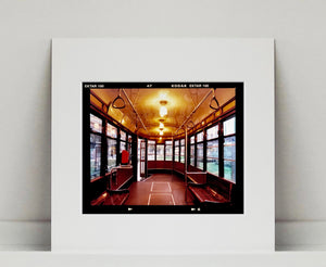 Vintage tram interior, captured in Milan.