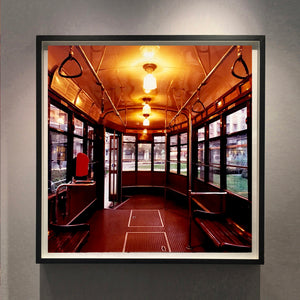 The interior of a vintage Italian tram in Lambrate, Milan.