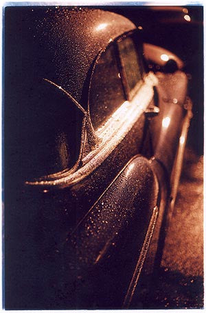 Car in rain (portrait), Camber Sands 2000