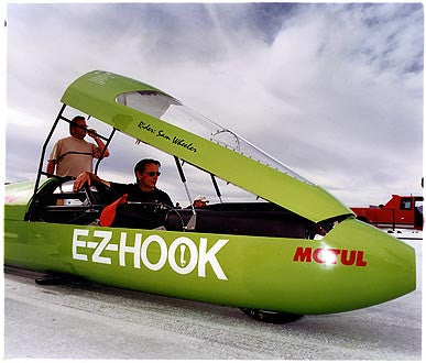 Sam Wheeler - E-Z Hook Motorcycle Streamliner, Bonneville, Utah 2003