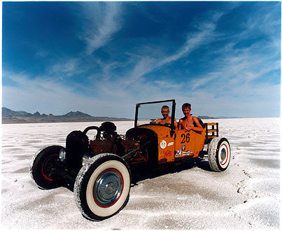 Otto & RJ in Otto's Model T III, Bonneville, Utah 2003