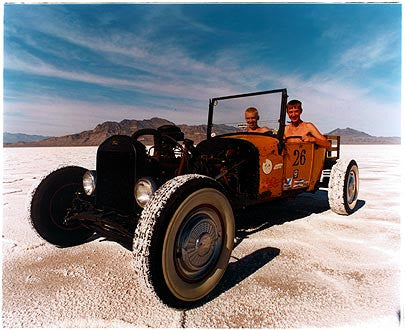 Otto & RJ in Otto's Model T IV, Bonneville, Utah 2003