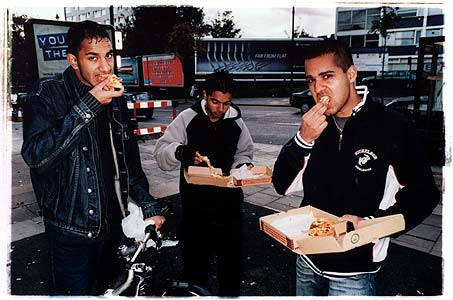 Saj, Ayud and Zafar - Chicken Village Pizza, Stoke Newington, London 2004