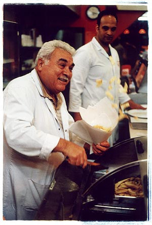 George & Nick - Micky's Fish Bar, Norfolk Place, Paddington, London 2004