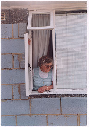Mrs Swan at Window I, Post War Prefab, Wisbech 1993