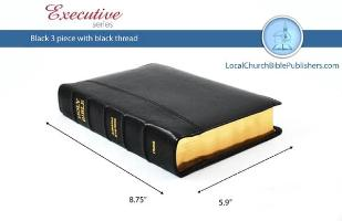 Hand Size Center Column Reference KJV Bible (Black, 3 Piece Calfskin Leather, Red Letter)