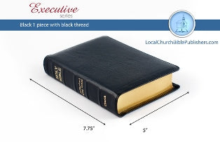 Compact Center Column Reference KJV Bible (Black, Calfskin Leather)