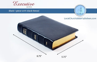 Hand Size Text KJV Bible (Black, 1 Piece Calfskin Leather, Black Letter)