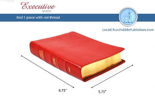 Hand Size Text KJV Bible (Red, 1 Piece Calfskin Leather, Black Letter)