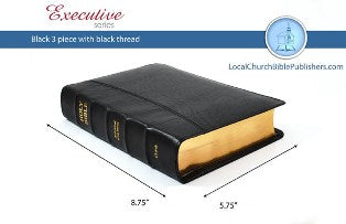 Hand Size Text 3 Piece KJV Bible (Black, Calfskin Leather, Black Letter) - Book Heaven - Challenge Press from Local Church Bible Publishers - 1