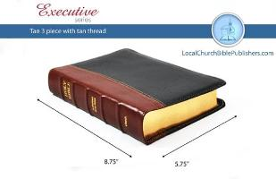 Hand Size Text KJV Bible (Tan/Black, 3 Piece Calfskin Leather, Black Letter)