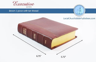 Hand Size Text KJV Bible (Tan, 3 Piece Calfskin Leather, Black Letter)