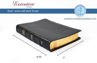 Mid Size Large Print KJV Bible (Black, Ironed Calfskin Leather) - Book Heaven - Challenge Press from Local Church Bible Publishers