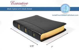 Mid Size Large Print Text 3-Piece KJV Bible (Black, Black Spine, Calfskin Leather, Black Letter) - Book Heaven - Challenge Press from Local Church Bible Publishers