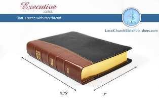 Mid Size Large Print Text 3-Piece KJV Bible (Black/Tan, Calfskin Leather, Black Letter) - Book Heaven - Challenge Press from Local Church Bible Publishers